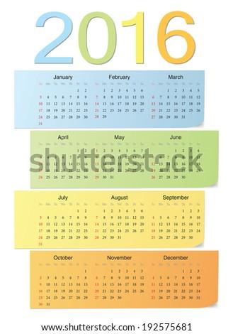European school 2016 color bright vector calendar. Week starts from Sunday. - stock vector