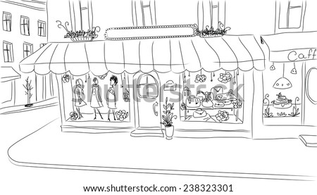 European sidewalk with fashion shop. Hand drawn clean sketch. - stock vector