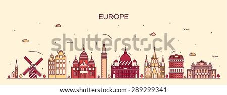 European skyline detailed silhouette. Trendy vector illustration, line art style. - stock vector