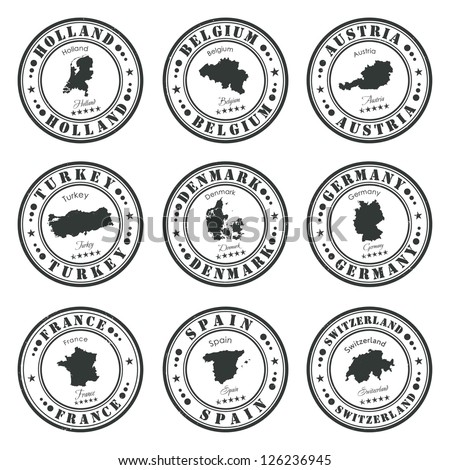 European stamps set - stock vector