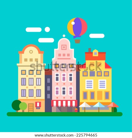 European streets. building facades. Vector flat illustration - stock vector