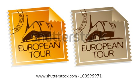 European tour vector tickets.