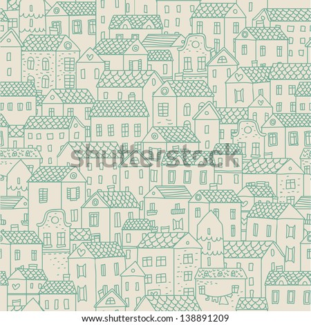 European town - concept background. Seamless pattern can be used for wallpapers, pattern fills, web page backgrounds,surface textures. Gorgeous seamless urban background - stock vector