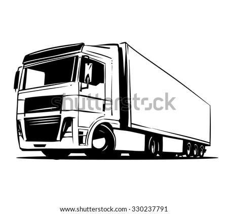 European Truck Trailer black and white illustration - stock vector