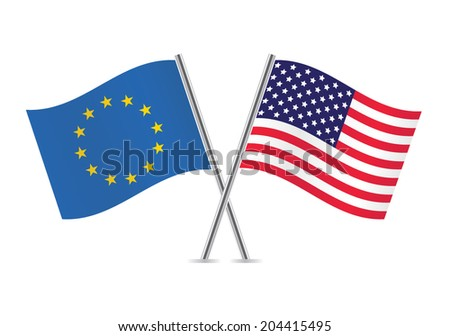European Union and American flags. Vector illustration. - stock vector