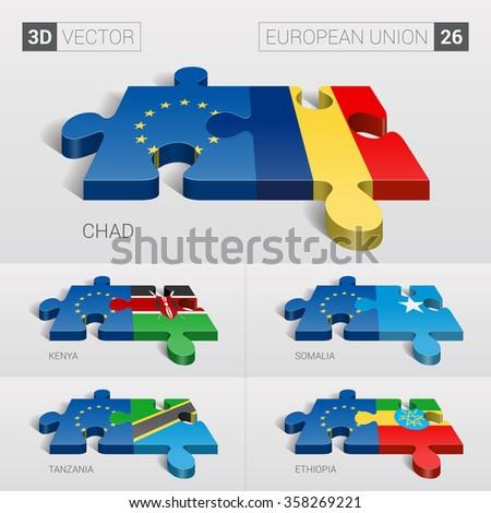 European Union and Chad, Kenya, Somalia, Tanzania, Ethiopia Flag. 3d vector puzzle. Set 26. - stock vector