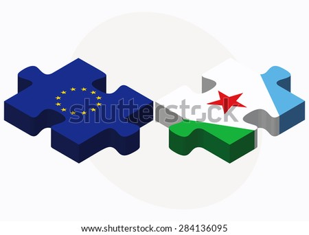 European Union and Djibouti Flags in puzzle isolated on white background