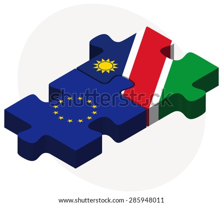 European Union and Namibia Flags in puzzle isolated on white background