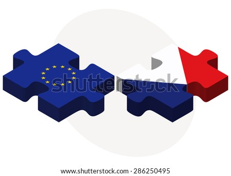 European Union and Sint Maarten Flags in puzzle isolated on white background  - stock vector