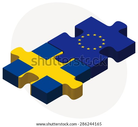 European Union and Sweden Flags in puzzle isolated on white background