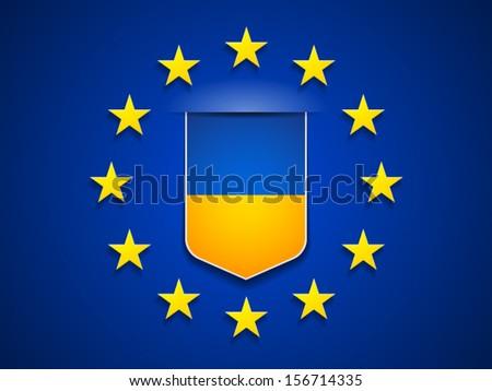 European Union and Ukraine - stock vector