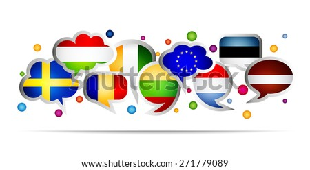 European Union countries bubble speech shapes. Set 2. Vector illustration. - stock vector