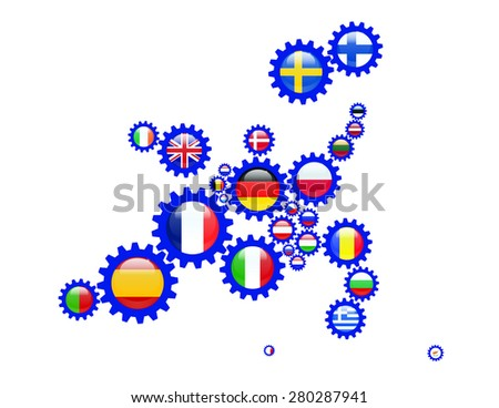 European Union Countries in Gears. Size of the Gears is reflects the size of the each country's land. - stock vector