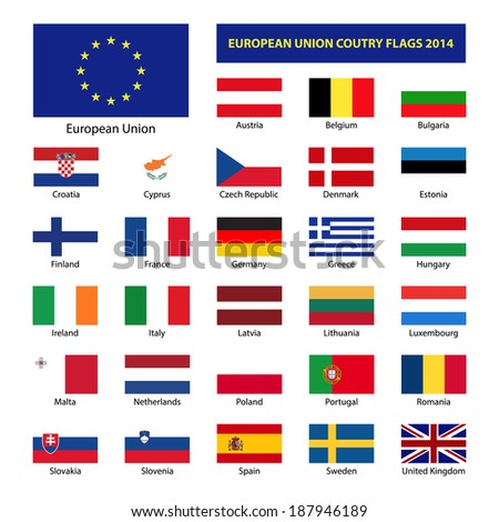 European Union country flags 2014, member states EU - stock vector