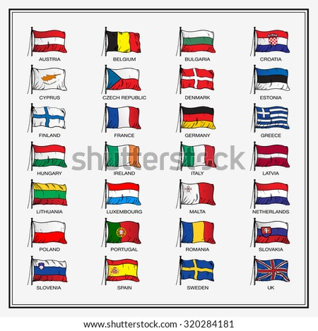 European Union country flags 2015, member states EU - stock vector