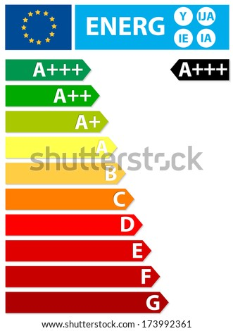 European Union energy label. New label. The energy efficiency of the appliance is rated in terms of a set of energy efficiency classes from A to G on the label. - stock vector