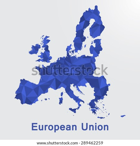 European Union,EU,Europe flag map in geometric polygonal style.Abstract tessellation,background. Vector illustration EPS10 - stock vector