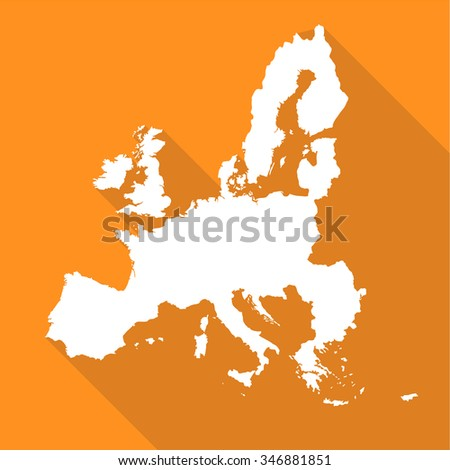 European Union,EU map flat simple style with long shadow. - stock vector