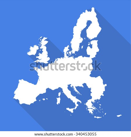 European Union,EU white map,border flat simple style with long shadow on blue background - stock vector