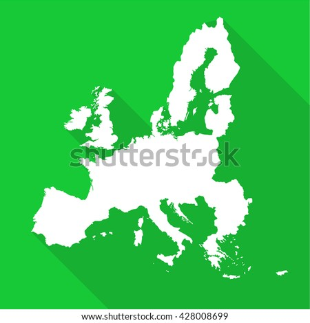 European Union,EU white map,border flat simple style with long shadow on green background.