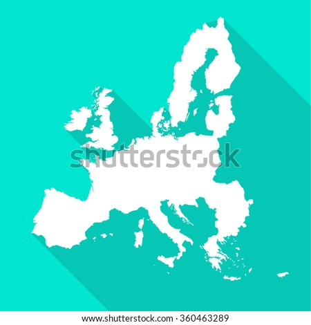 European Union,EU white map,border flat simple style with long shadow on turquoise background.