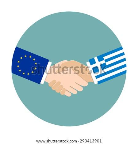 European Union flag and Greece flag as politics and negotiation concept  - stock vector