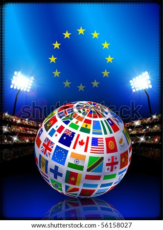 European Union Flag Globe on Stadium Background Original Illustration