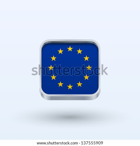European Union flag icon square form on gray background. Vector illustration.