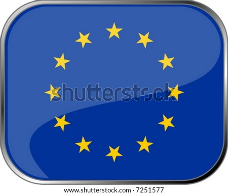 European Union flag icon with official coloring - stock vector