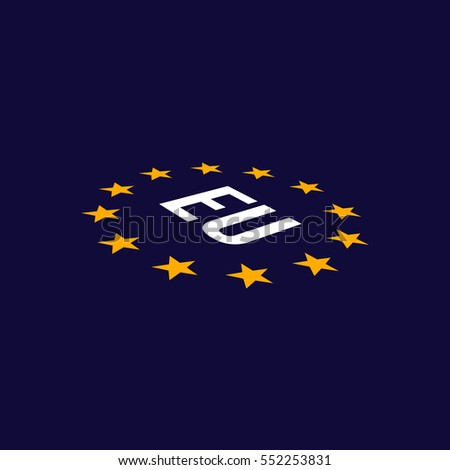 European Union flag in perspective. EU flag. Vector Illustration