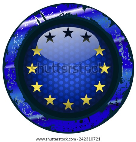 European Union Flag on a Grungy Framed Blue Shield, Vector Illustration isolated on White Background.  - stock vector