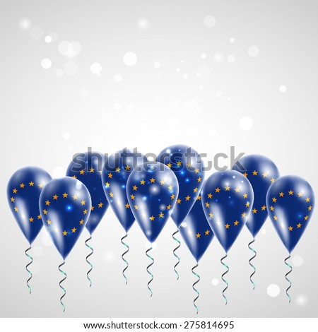 European Union flag on balloon. Celebration and gifts. Ribbon in the colors of the flag are twisted under the balloon. Independence Day. Balloons on the feast of the national day.  - stock vector