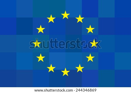 European union flag on unusual blue squares background. Foursquare design. Original proportions and high quality. Vector illustration. EU - stock vector