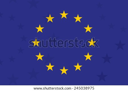 European union flag. With additional stars on background. Unusual design. Original proportion and colors. EU symbol. Vector - stock vector