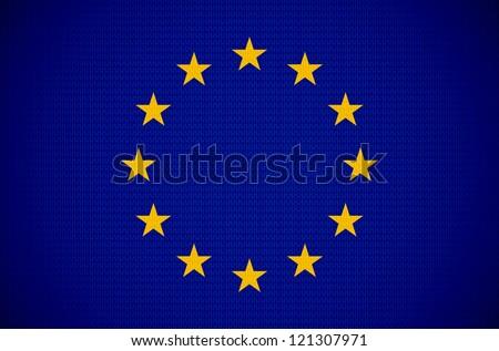 European union flag with fabric texture. EPS10 vector. - stock vector