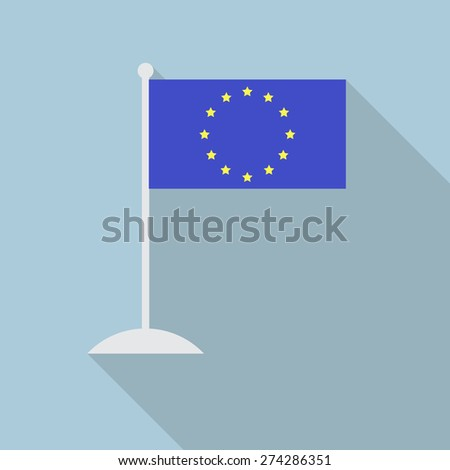 European Union flag with flagpole flat icon with long shadow. Vector illustration EPS10 - stock vector