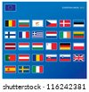 European union flags - stock vector
