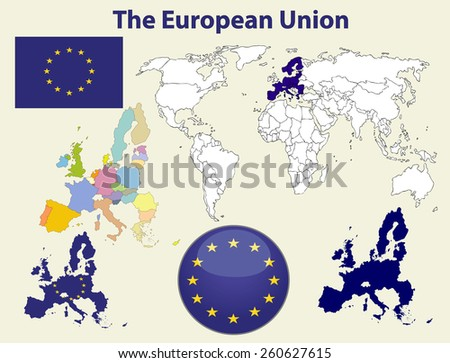 European Union Icons and world map. Set of vector graphic icons and symbols representing the European Union. - stock vector