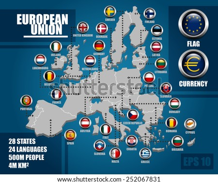 European Union Infographic Map with Member States Badges and Flag and Currency Symbol and Simple Info, EPS 10 - stock vector