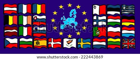 European Union Map. European Union country flags in vector  - stock vector
