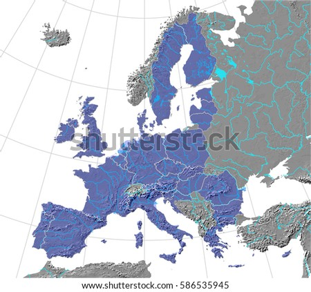 European union map rivers lakes over stock vector 586535945 european union map with rivers and lakes over shaded relief detailed editable vector created gumiabroncs Gallery
