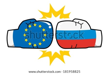 european union  russia relations, boxing gloves with flags hit  - stock vector