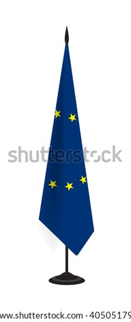 European Union's flag on flagstaff - stock vector