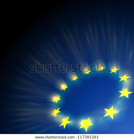 European Union stars glare on dark blue background. - stock vector