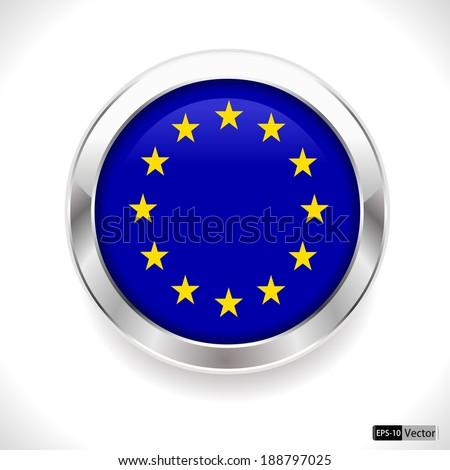 european union vector flag glossy button, eu flag badge - vector eps10 - stock vector