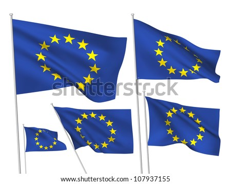 European Union vector flags. A set of 5 wavy 3D flags created using gradient meshes. - stock vector
