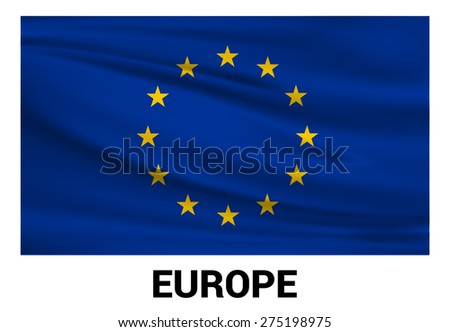 European union Waving flag isolated vector in official colors and Proportion Correctly. waving wind Flag realistic fabric effect. country's name label in bottom - stock vector