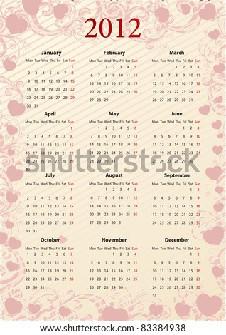 European Vector pink floral calendar 2012 with hearts, starting from Mondays - stock vector