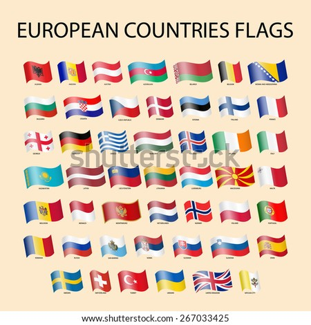 European Waving Flags - stock vector