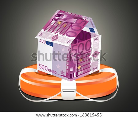Euros House with Life Buoy. Insurance concept. - stock vector